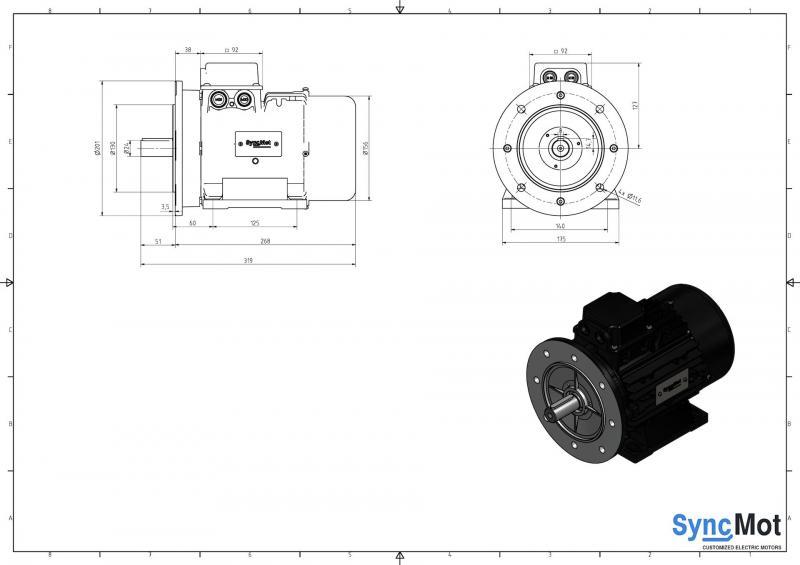 SM 2,2kW; 1500 rpm; IEC90 B35