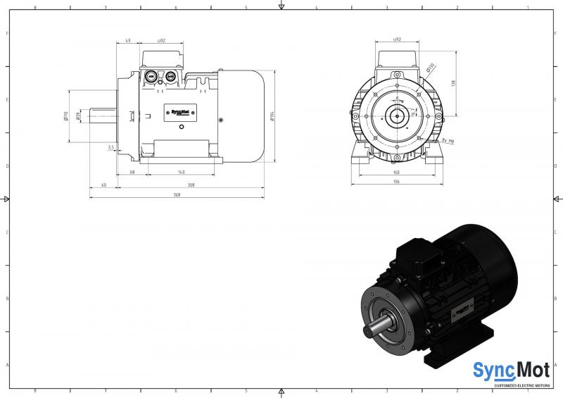 SM 7,5kW; 1500 rpm; IEC100 B14